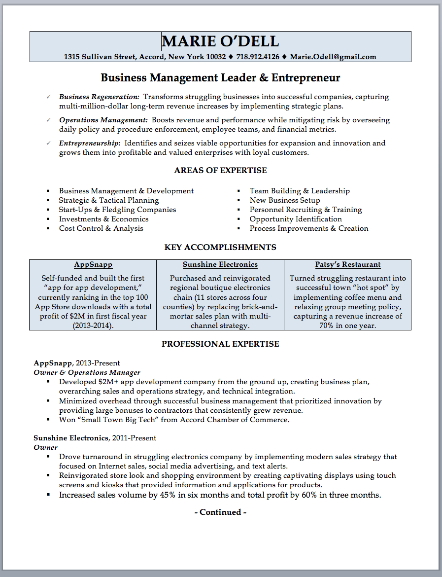 business management resume template