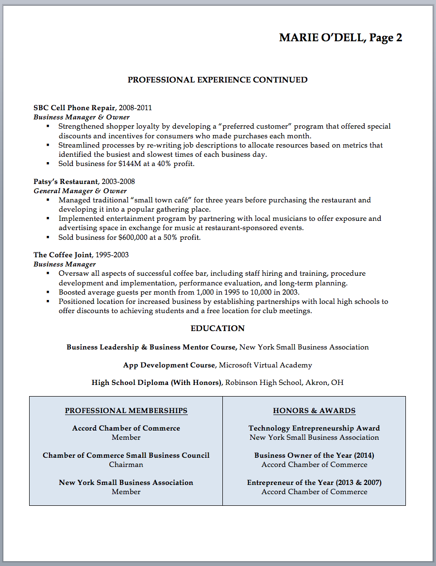 business owner resume - Small Business Owner Resume