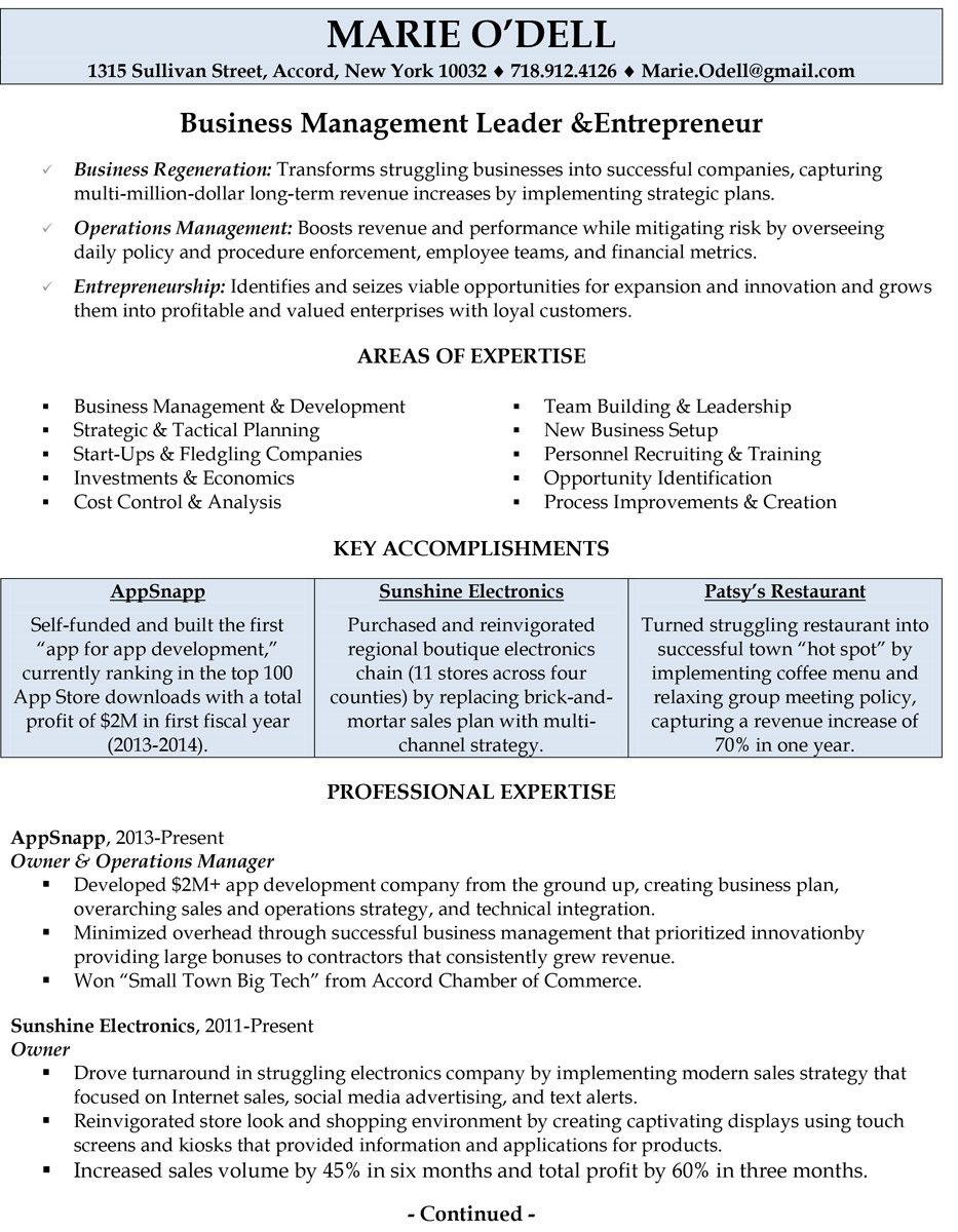 professionally written resume samples rwd business owner