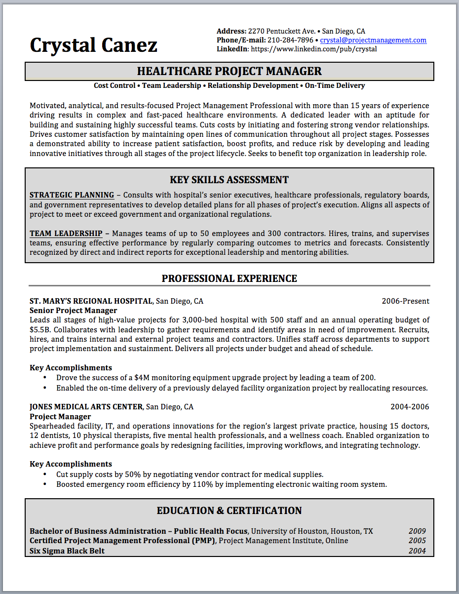 Project Manager Resume Sample and Writing Guide Resume Writer Direct